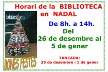 Horario de la Biblioteca Miguel Delibes en Navidad