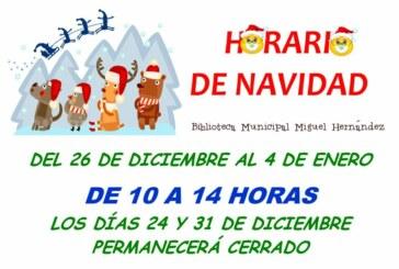 """Horario de Navidad de la Biblioteca Municipal Infantil """"Miguel Hernández"""""""