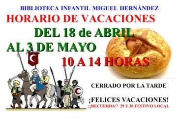 Horario especial de la Biblioteca Municipal Infantil Miguel Hernández durante Semana Santa y Fiestas Patronales