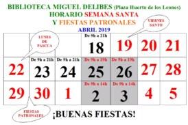 Horario especial de la Biblioteca Municipal Miguel Delibes durante Semana Santa y Fiestas Patronales