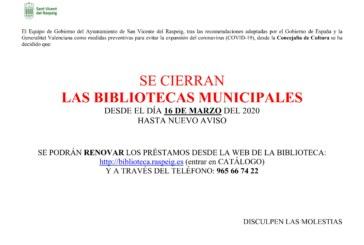 SE CIERRAN LAS BIBLIOTECAS MUNICIPALES