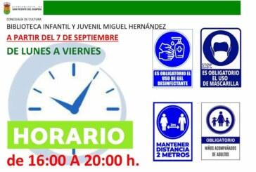 Cambio de horario de la Biblioteca Infantil Miguel Hernández