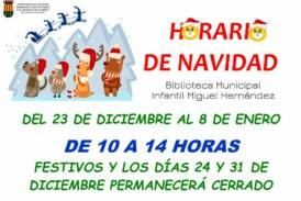 Horario de Navidad de la Biblioteca Municipal Infantil «Miguel Hernández»