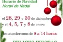 Horario de Navidad de la Biblioteca Municipal «Miguel Delibes»